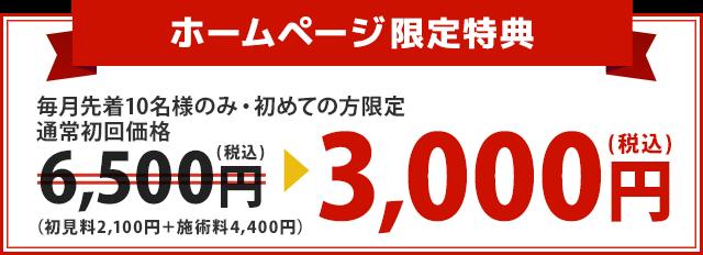 通常初回価格6,500円が3,000円に!